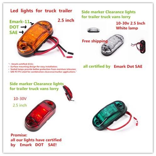 100X LED Side Marker Light Clearance Lamp 12V 24V E-marked Car Truck Trailer BUS Rear lamp external Lights Parking lights atv(China (Mainland))