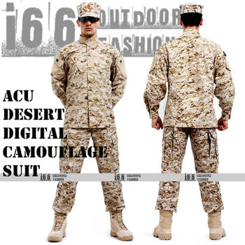 ACU Desert Digital Camouflage suit sets BDU Military Combat Uniform CS Training Uniform Garment sets Shirt + Pants(AU-12013)