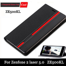 High quality New for Asus Zenfone 2 Laser ZE500KL 5.0 inch Case Ultra thin Leather flip cover back case+Screen gift Free(China (Mainland))