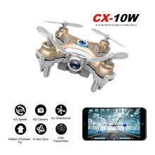 Drones CX 10W Quadrocopter Drones With Camera HD Drone Racer 4 Channels Mini Drone With Camera FPV Droner WIFI Camera