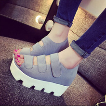 Euro Style Flatform Creepers Fish Mouth Sandals Women Shoes Peep Toe High Platform Heels Summer Sexy Internal Height Increase
