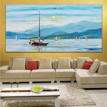 100% Hand painted Sailing Yacht Color Palette Oil Painting Blue Canvas Wall Art Picture for Office Home Decor(China (Mainland))