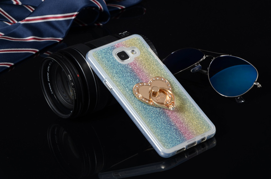 Luxury Glitter Case For Samsung Galaxy A5 2016 A5100 A510F A510M 5.2″ Silicon Diamond Ring Cover Soft TPU Holder Stand Phone Bag