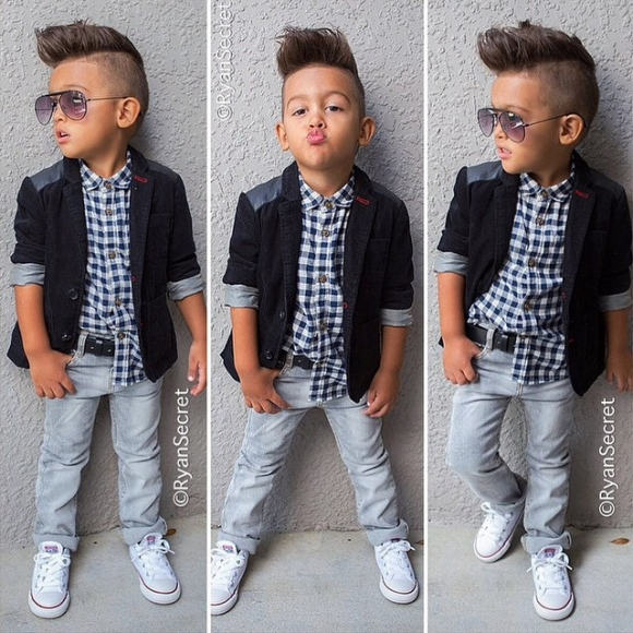 2015 New Fashion baby boys 3pcs clothing sets 220812 black outerwear +plaid shirt+ jeans trousers children autumn clothing(China (Mainland))
