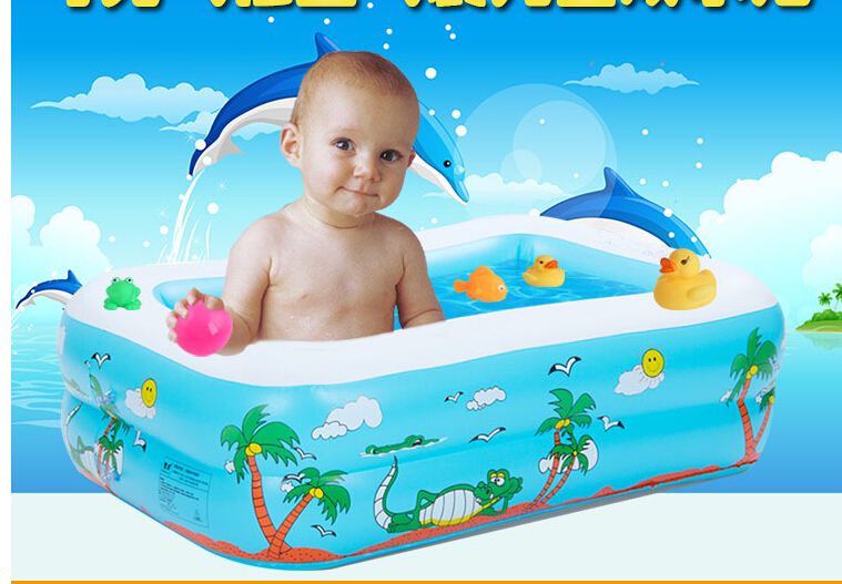 Summer essentia high quality PVC baby taking shower water inflatable toys rectangular swimming pool 110*85*30cm(China (Mainland))