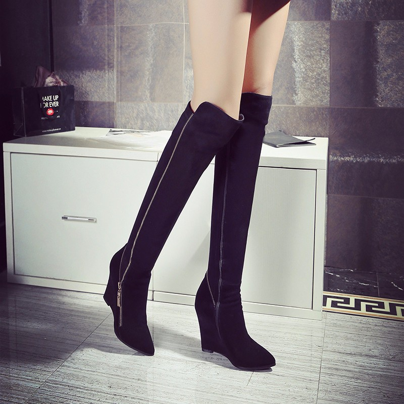 Woman Wedges Knee-high Boots Winter Short Plush Nubuck Leather Pointed Toe Long Boots Sheepskin Fashion Wedges Knee-high Boots
