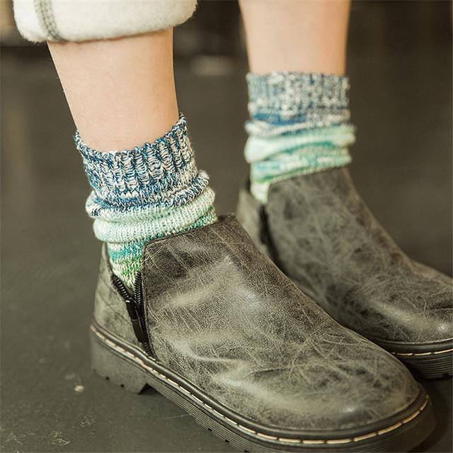 Японский Novetly ретро вязать гольфы каваи женщины лоскутная носки all-матч хлопок носок милый