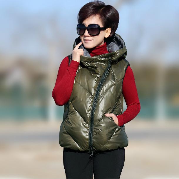 New 2015 Winter Trench Fashion Hooded Diagonal zipper White Duck Girls Down Vest 90% Women's vests & waistcoats(China (Mainland))