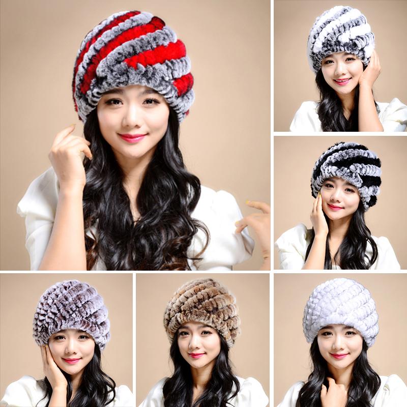 Гаджет  knitting rabbit fur hat new fashion 2015 winter cap for women Genuine rabbit fur hat Stripe Fur Caps Fashion Women None Одежда и аксессуары