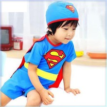 Free shipping 2014 Children's bathing suit Superman costume Boy swimwear Baby three pieces swim suit superhero bathing clothing
