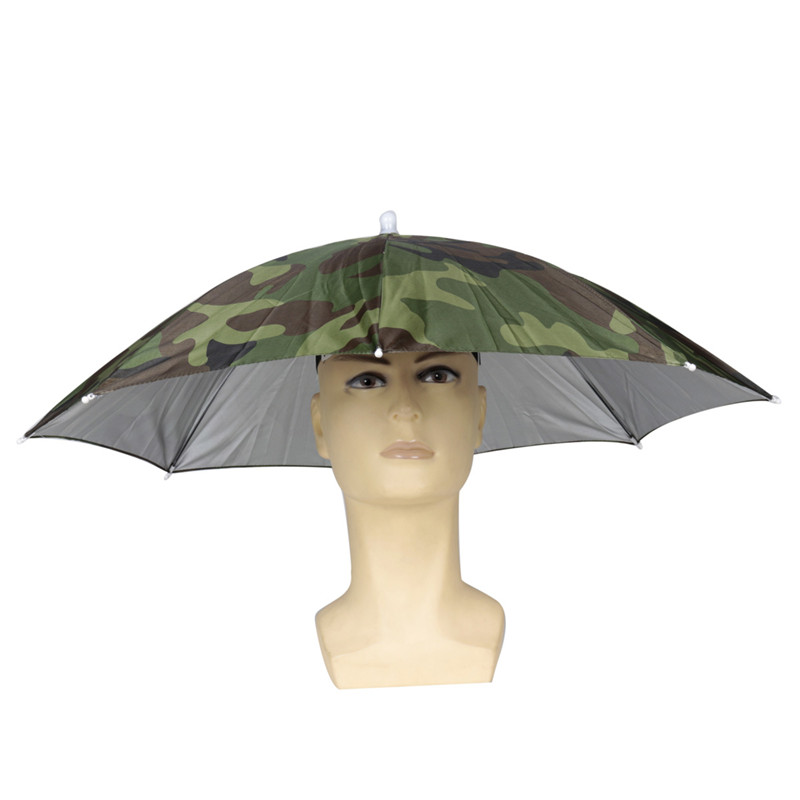 Camouflage Foldable Headwear Sun Umbrella Fishing Hiking Beach Camping Headwear Cap Head Hats Outdoor Sport Umbrella Hat Cap(China (Mainland))