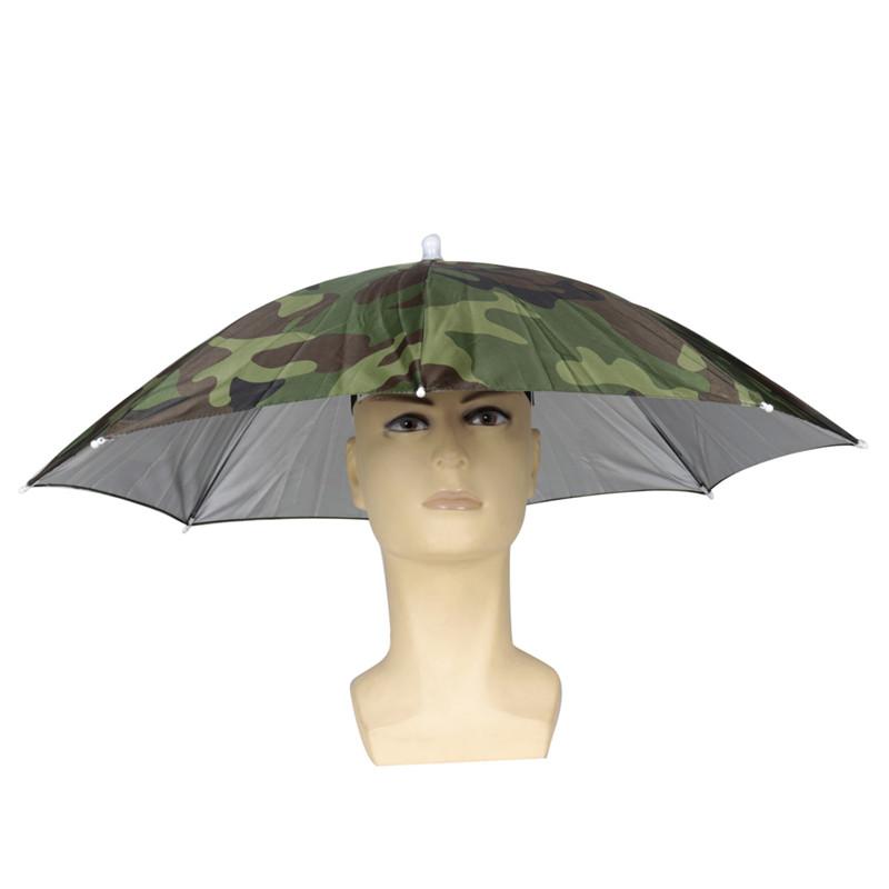 Camouflage Foldable Headwear Sun Umbrella Fishing Hiking Beach Camping Headwear Cap Head Hats Outdoor Sport Umbrella Hat Cap(China (Mainland))