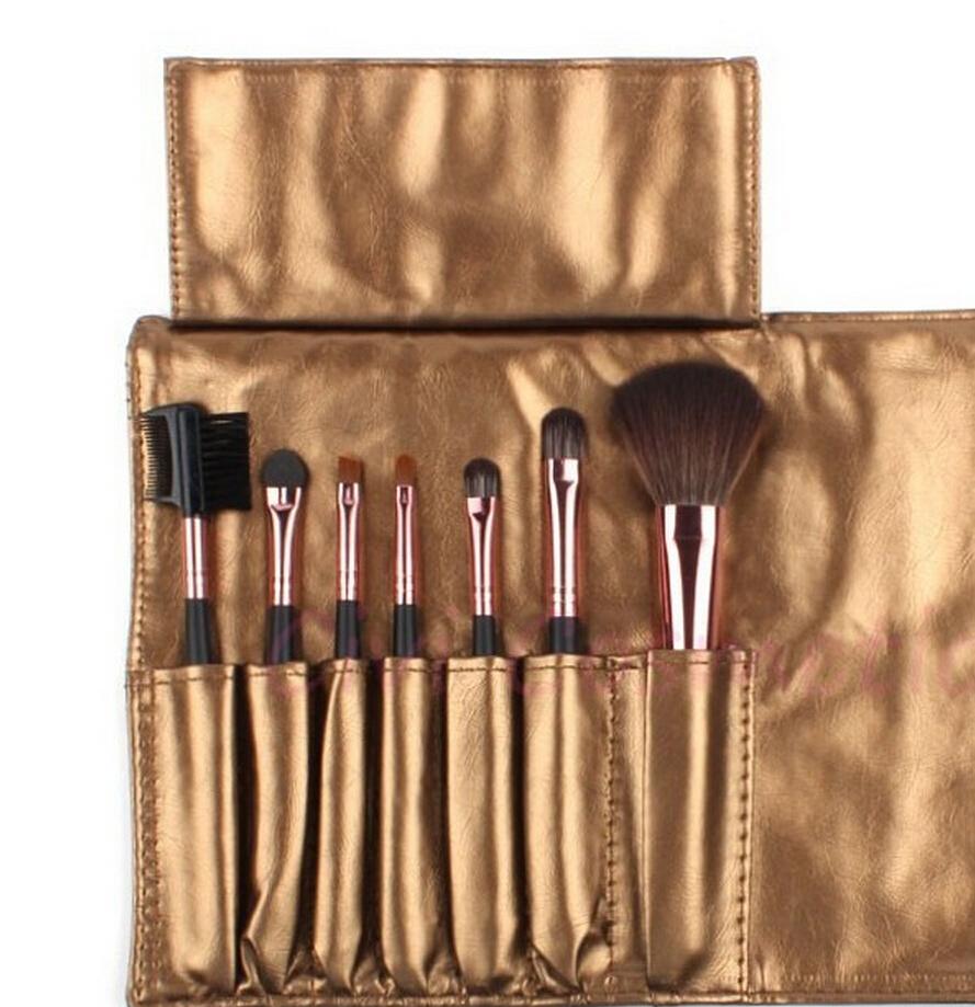Pink Professional 7 pcs Makeup Brush Set Tools Make-up Toiletry Kit Wool Brand Make Up Brush Set Case(China (Mainland))