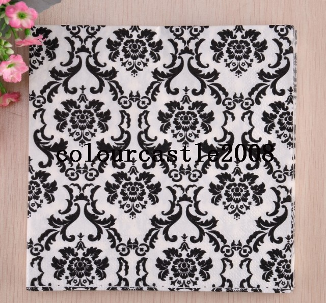 Hot seling vintage Black Fancy Flower style Paper Napkin for party 100% Virgin Wood Pulp Printing Retro vintage Paper Napkin(China (Mainland))