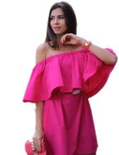 Ruffles Slash Neck Women Dress Summer Style Off Shoulder Vestidos Sexy Solid Dresses Loose Beach Dress Cotton WDA0086(China (Mainland))