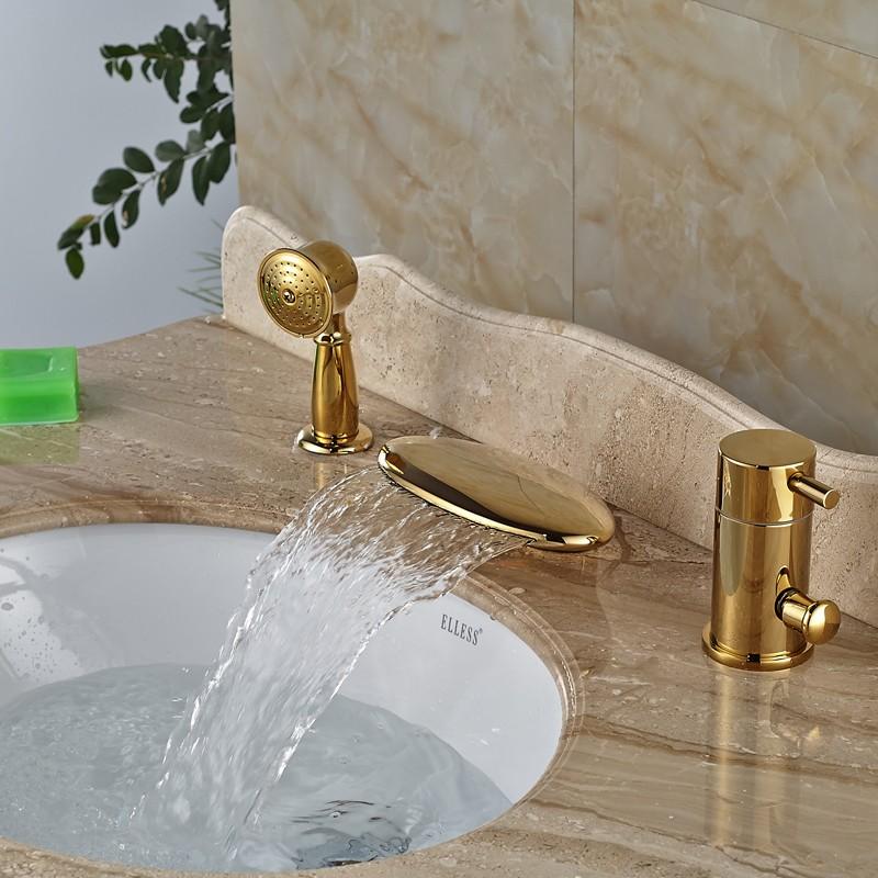 Купить Творческий WidespreaWwaterfall Ванна Кран Однорычажный Pull Out Ручной Душ Ванна Смесители Польский Золотой