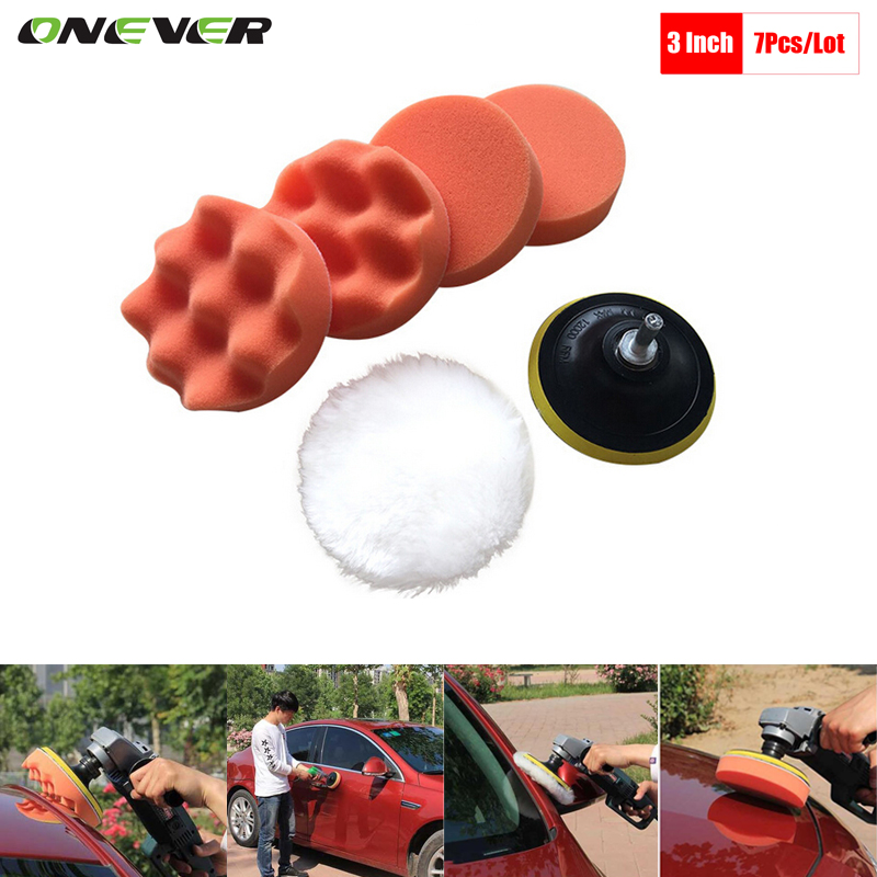 7pc Gross Polishing Buffing Pad Kit for Auto Car Polishing Wheel Kit Buffer With Drill Adapter Car Removes Scratches Car-styling(China (Mainland))