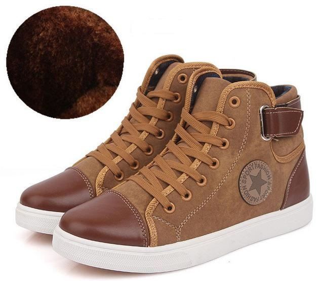 Men's Casual Shoes Brand Design Fashion High Quality Canvas Patchwork Leather Men Sneakers Winter Warm Plush Male Shoes(China (Mainland))