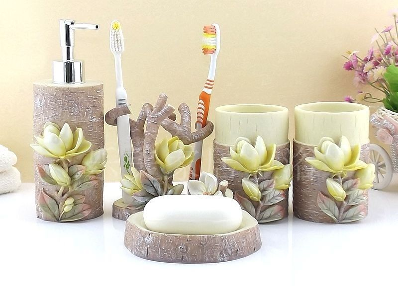 5 pcs 3d magnolia bathroom accessory sets accessories for 3d bathroom accessories