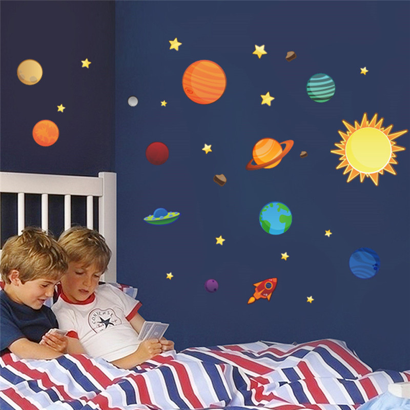 Universe Wall Stickers For Kids Room Nursery Adesivos De Parede PVC Posters Solar System Wall Art SPACE decals planets(China (Mainland))