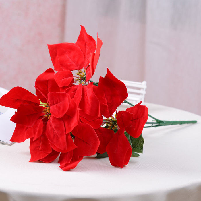 1Pcs simulation flowers artificial flowers Christmas wreath poinsettia simulation engineering home decor(China (Mainland))