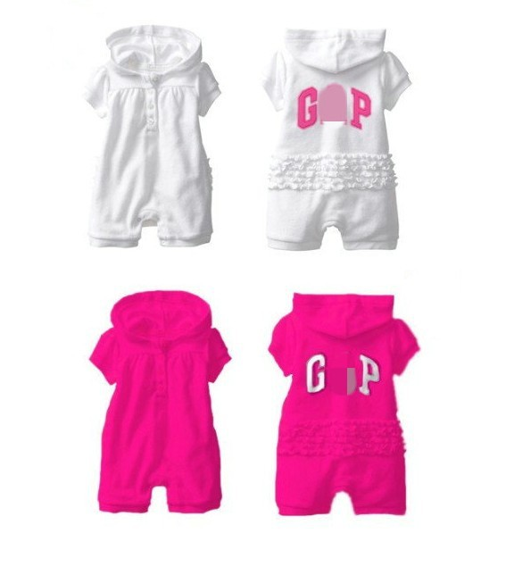 Brand Design Baby Girl's One Piece Short Sleeve Hoodie Romper, Summer Jumpsuit With Letter 3 pc/lot 80-95 Free shipping