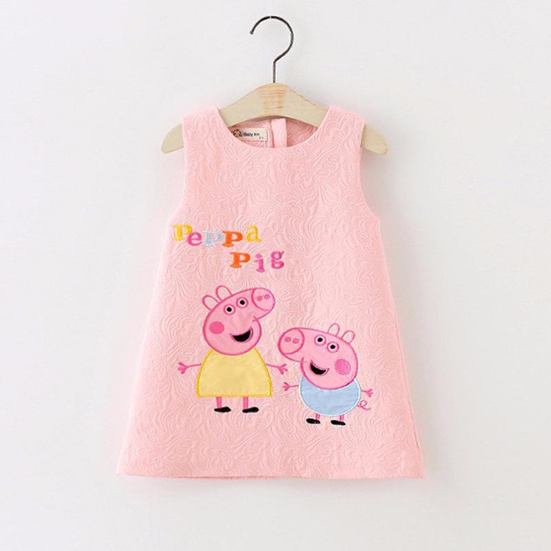 2 Color Children's Vest Dress Girls jacquard sundress cartoon pig dress children clothing princess party evening dresses kids(China (Mainland))