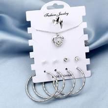 שהסיודוס קלאסי תכשיטים סטים לנשים זהב כסף לב תליון פיות תליון שרשרת גדול מעגל עגילי חישוק נשים(China)