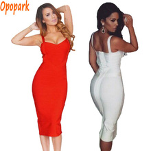 new arrivals 2016 women dresses sexy celebrity mid calf red white bandage dress spaghetti strap club long party dress HL434(China (Mainland))