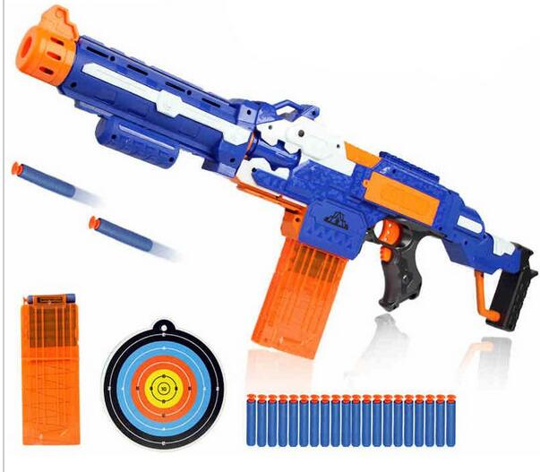 Soft Bullet Toy Gun Sniper Rifle Nerf Plastic Gun & 20 Bullets 1 Target Electric Gun Toy Christmas Birthday Gift Toy For Child(China (Mainland))