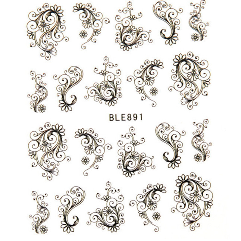 1pcs Beaty Flowers water transfer nail sticker sheet on finger nails stickers for women minion nail sticker decasl BLE891(China (Mainland))