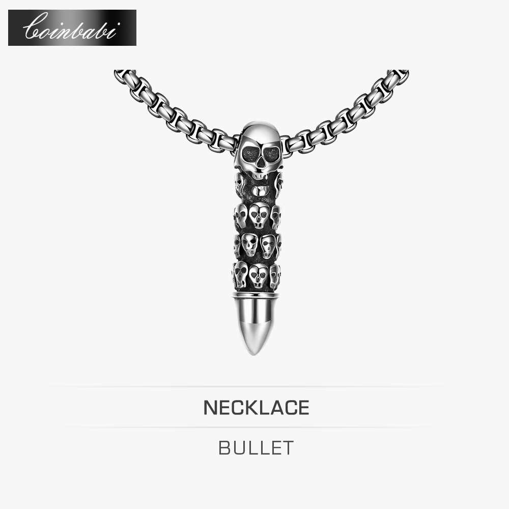 Skull Bullet Pendant Necklace,CH TS Maxi Link Punk Titanium For Mens,Europe And The United States Are Selling Men'S Skull Bullet(China (Mainland))