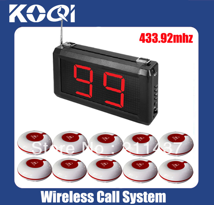 99 Zones LED Display Wireless Patient Call Emergency Service Call System A1-99S w 10pcs Calling Button LED size 295x157x42mm(China (Mainland))