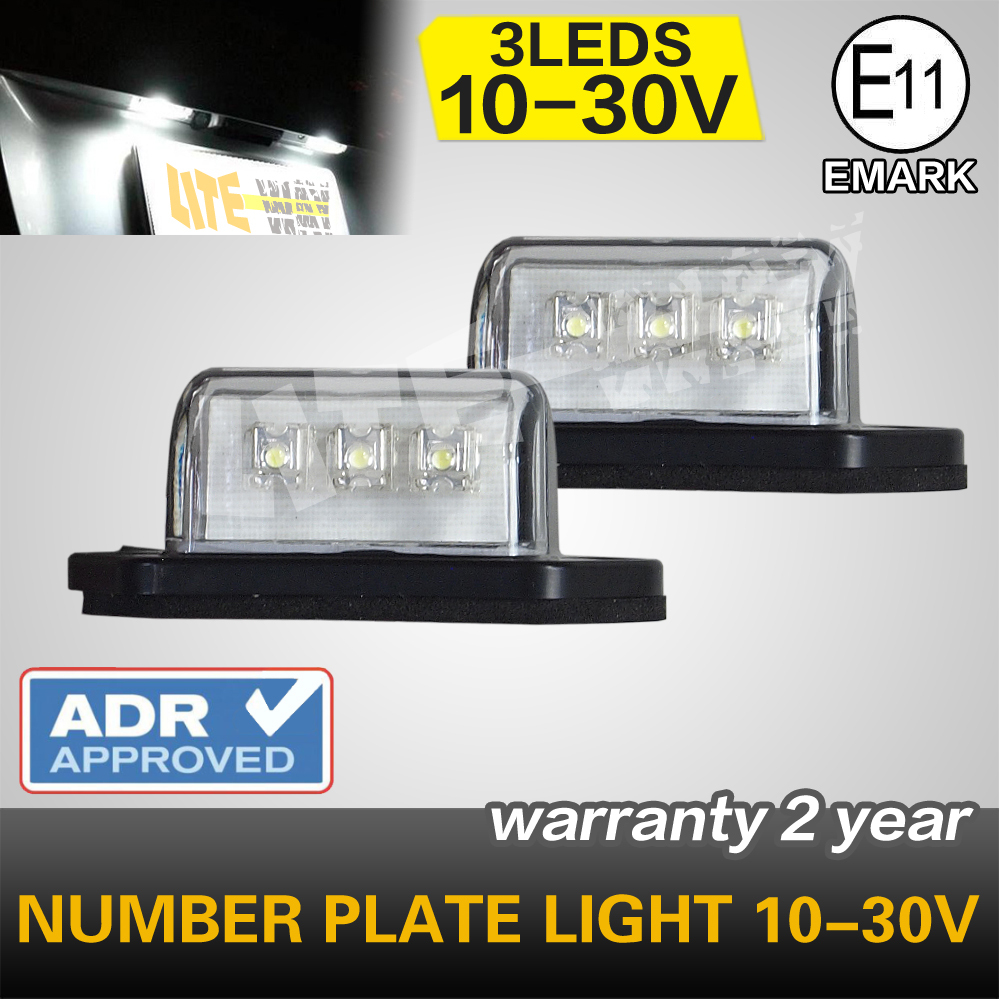 Pair  License Plate Light 3-LED Light bars for Number Plate Light Used in Truck 12v and 24v<br><br>Aliexpress