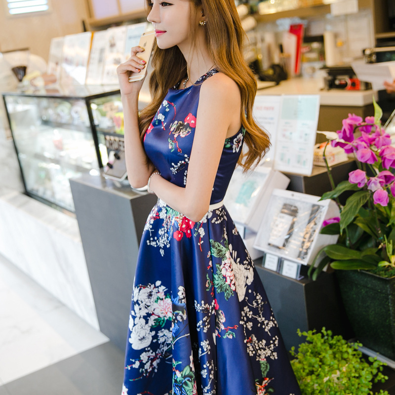 2016 summer models retro high waist peony flower big swing Dress waist was thin wild round neck sleeveless dress bright +belt(China (Mainland))