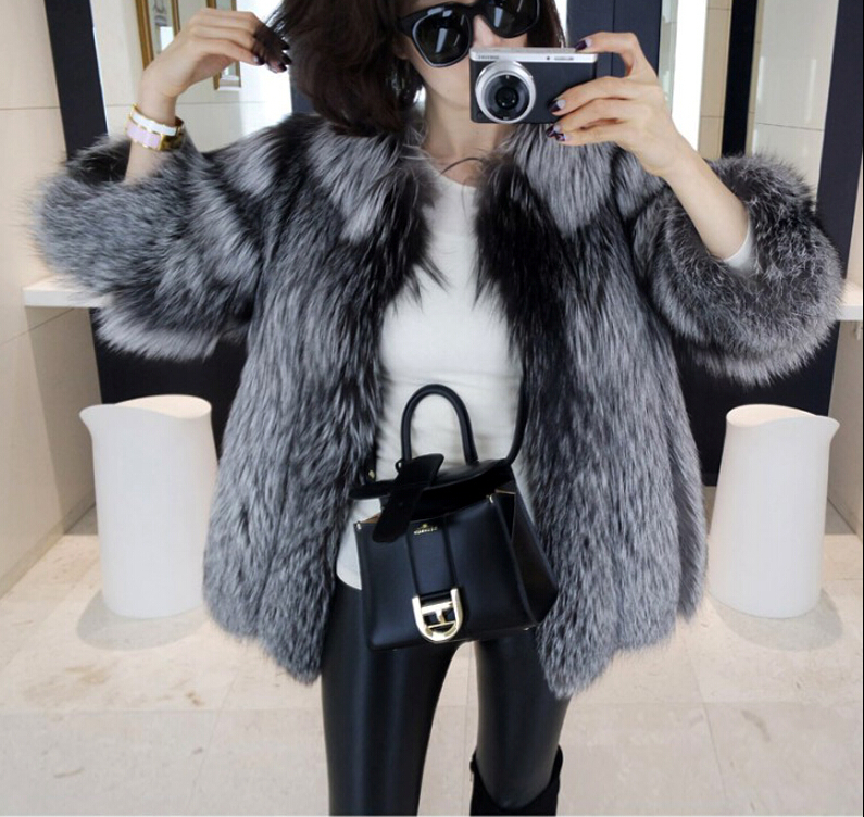 Luxury New Best Natural Silver Fox Fur Coat Woman Genuine Fur Coat For Women's Real Fur Jacket Winter Warm Plus Size Overcoat(China (Mainland))