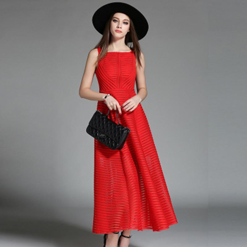 women summer solid dress hollow out sleeveless red black midi dresses 2016 new style hot sale big size clothing vestido de festa(China (Mainland))