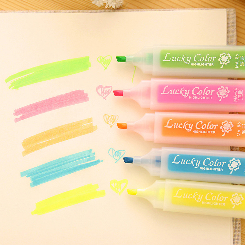 Kawaii Fresh Style Luck Candy Color Large Capacity Highlighter Markers Fluorescent Pen Glitter Gift Stationery(China (Mainland))