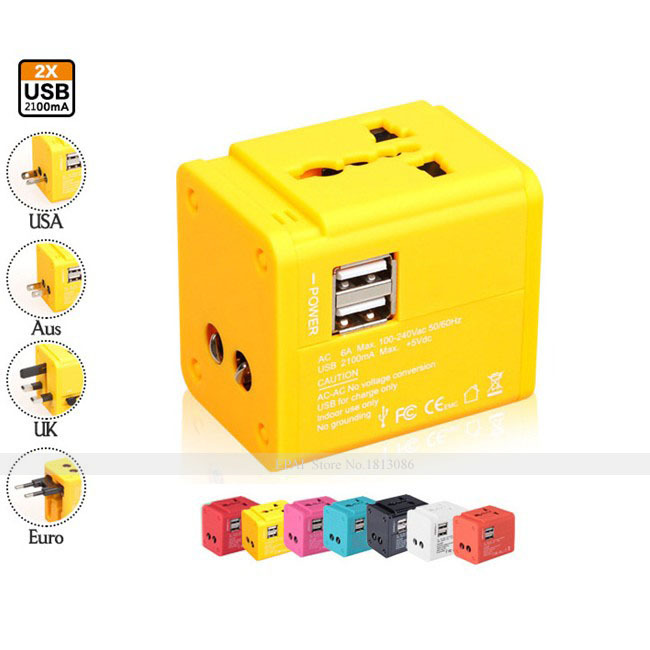 All in One Universal travel Adapter with 2 USB Port World Travel AC Power Charger Adaptor with AU US UK EU Plug(China (Mainland))