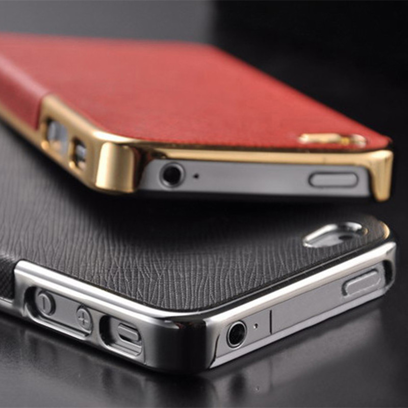 New Luxury Leather with Gold and Silver Frame Chrome Hard Back Case Cover For iPhone 4 4S / 5 5S SE / 6 6S / 6 6S Plus(China (Mainland))