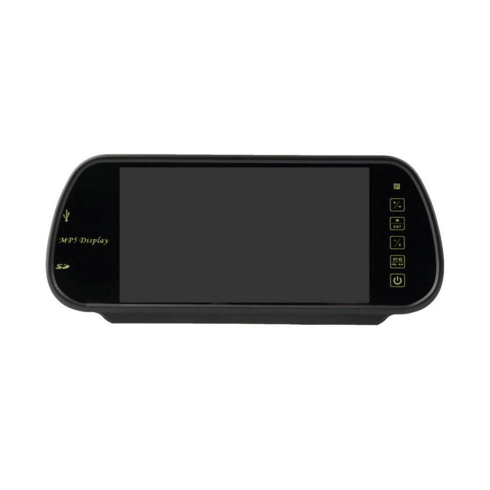 7 Inch TFT LCD Color Screen HD Resolution Car Rear View Mirror Monitor 2 Video Input Built-in USB jack SD Port