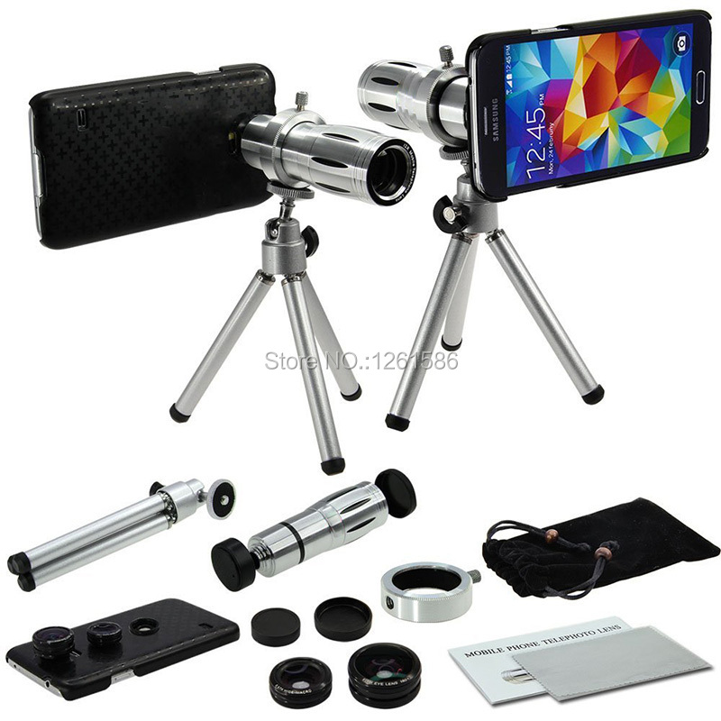 Free Shipping/For Samsung Galaxy S5 Camera Lens Kits Four Awesome Lenses Awesome Accessories and Attachments-Black