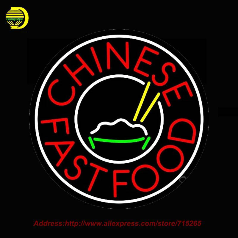 Chinese Fast Food Circle Neon SIGN Neon Bulb Recreation Glass Tube Handcraft Affiche Neon Window Light Lamp Custom Signs 24x24(China (Mainland))