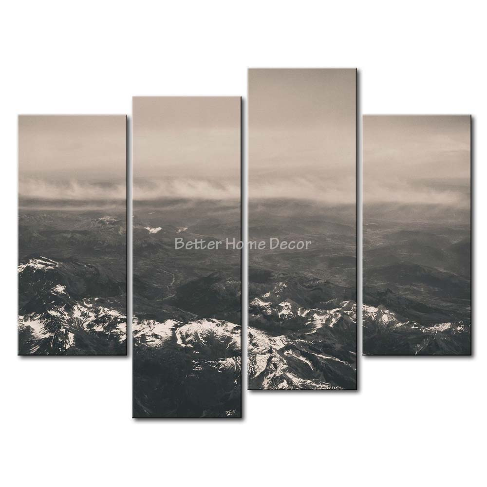 3 Piece Grey Wall Art Painting Mountain Range With White