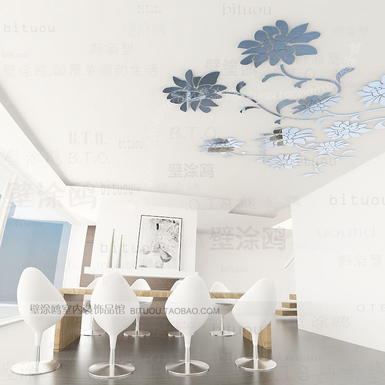 Ikea style acrylic wall ceiling cotans chinese style classical crystal mirror - Miroir stickers ikea ...