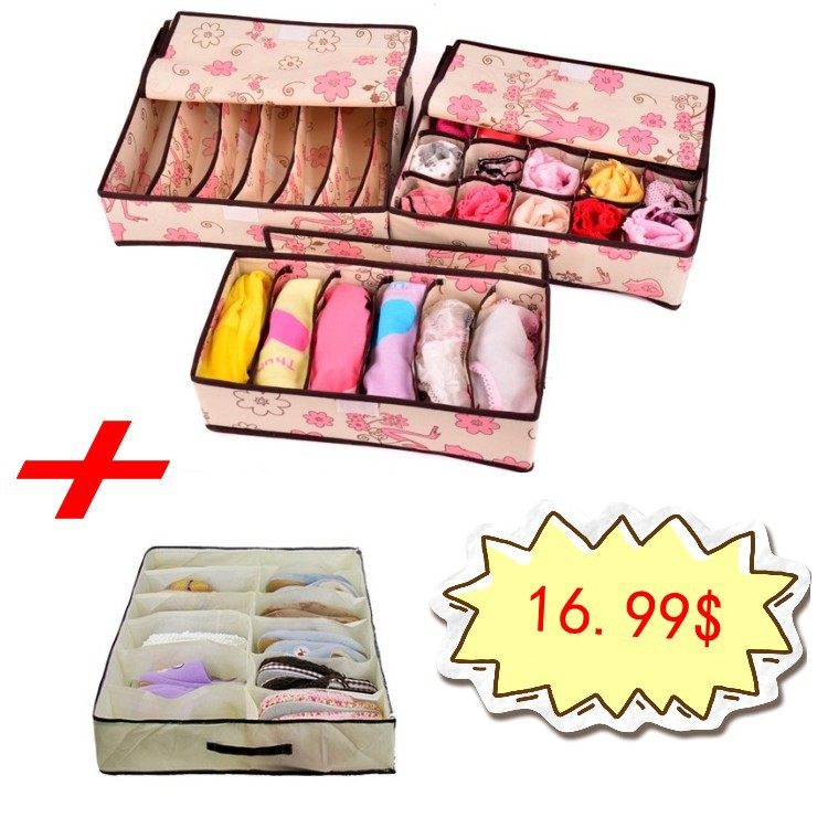 Home Storage Set 3PCS Foldable Underwear Drawer Boxes For Bra + 1 PCS Folding Under bed 12 Cell Shoes Bag Organzer(China (Mainland))
