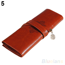 Vintage Retro Roll Leather Make up Cosmetic Pen Pencil Case Pouch Purse Bag 02PT