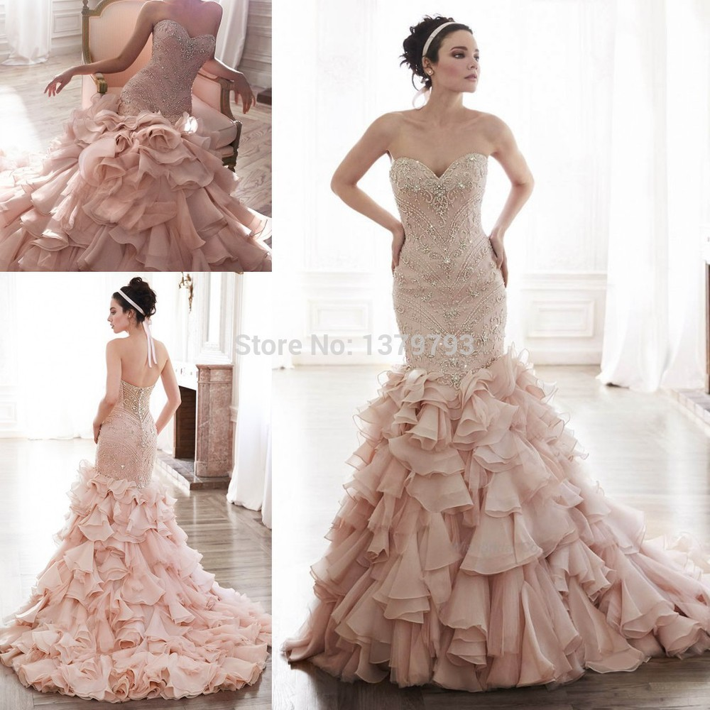 2015 luxury sweetheart blush beaded bodice pleated skirt for Pink ruffle wedding dress