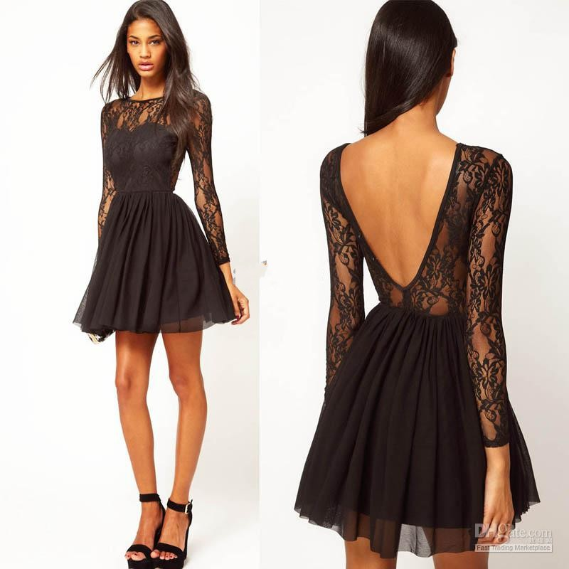 Long Sleeve Black Lace Mini Dress Long Sleeves Black Lace