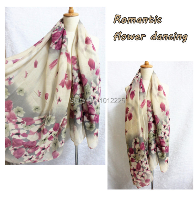Voile floral hijab scarf pretty dancing flowers nice print shawl for women elegant fashion design Apparel Accessories hot sale(China (Mainland))